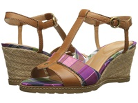 Rockport Garden Court Perf T Strap Sandal Valigia Plaid Women's Sandals Brown