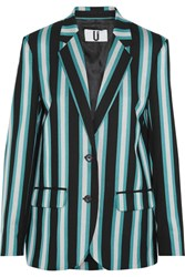 Topshop Unique Beale Striped Satin Twill Blazer Turquoise