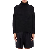 Tomorrowland Cashmere Hexagon Stitched Turtleneck Sweater Black