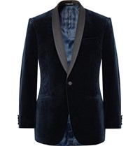 Richard James Blue Hyde Slim Fit Satin Trimmed Cotton Velvet Tuxedo Jacket Midnight Blue