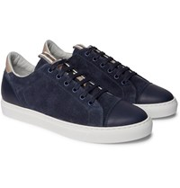 Brunello Cucinelli Leather Trimmed Brushed Suede Sneakers Blue