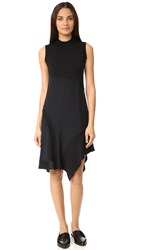 Dkny Mock Neck Asymmetrical Dress Black