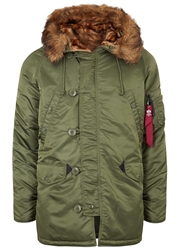 Alpha Army Green Faux Fur Trimmed Padded Parka