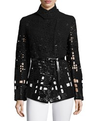 Donna Karan Belted Emb Pea Jacket Black
