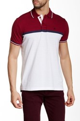 Micros Regular Fit Short Sleeve Colorblock Polo Red