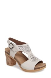Dansko Women's Deandra Studded Sandal Ivory Nubuck Leather