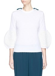Toga Archives Faux Leather Embroidered Sleeve Cotton Sweater White