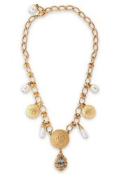 Dolce And Gabbana Woman Gold Tone Faux Pearl Crystal Necklace Gold