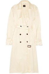 Magda Butrym Double Breasted Silk Trench Coat Cream