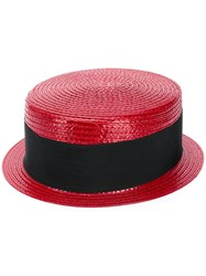 Saint Laurent Small Boater Hat Red