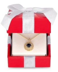 Macy's Victoria Townsend Sapphire 5 8 Ct. T.W. And White Topaz 1 5 Ct. T.W Double Halo Pendant Necklace In 18K Gold Plated Sterling Silver