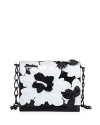 Nancy Gonzalez Laser Cut Floral Crocodile Shoulder Bag Black White