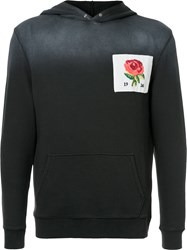 Kent And Curwen Embroidered Rose Hoodie Grey