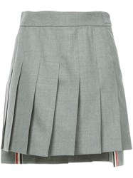 Thom Browne Dropped Back Mini Pleated Skirt In School Uniform Plain Grey