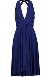 Norma Kamali Convertible Pleated Stretch Jersey Dress Royal Blue