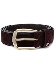 Brioni Stitched Buckled Belt Red