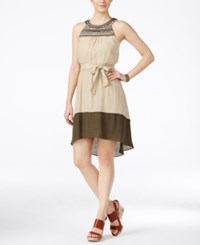 Amy Byer Bcx Juniors' Embellished Contrast High Low Dress With Sash Sand