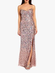 Adrianna Papell Beaded Sequin Mesh Maxi Dress Rose Gold