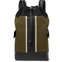 Bottega Veneta Intrecciato Leather Trimmed Striped Canvas Backpack Army Green