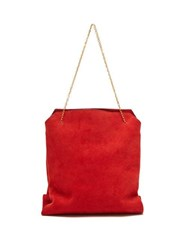 The Row Lunch Bag Suede Clutch Red
