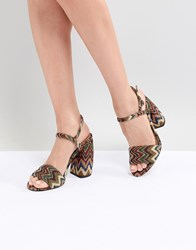 Asos Design Hamish Woven Heeled Sandals Multi