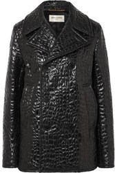 Saint Laurent Double Breasted Croc Effect Faux Leather Jacket Black