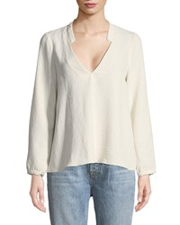 Baandsh Corian Split Neck Long Sleeve Blouse Ivory