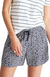 Madewell Women's Print Drapey Pull On Shorts Woodblock Deep Navy