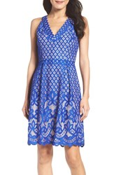 Adrianna Papell Women's Floral Lace Fit And Flare Dress Ultra Marine Bisque