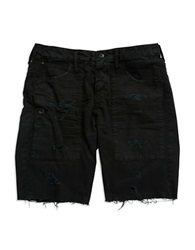 Rogue State Distressed Cotton Shorts Black