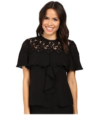 Rebecca Taylor Short Sleeve Georgette Lace Top Black Women's Clothing