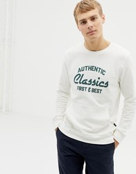 Burton Menswear Sweatshirt With Classic Print And Front Pocket In White