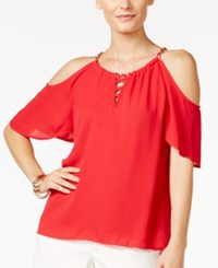 Thalia Sodi Lace Up Cold Shoulder Top Only At Macy's Lipstick Red