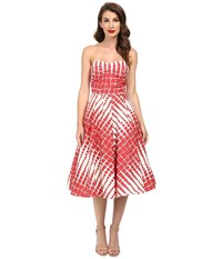 Unique Vintage Darcy Printed Swing Dress Red Cream Print Women's Dress