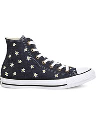 Converse All Star Flower Embroidered Canvas Trainers Navy Yellow Festival
