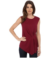 Vince Camuto Side Ruched Top Merlot Women's Sleeveless Red