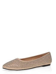 Evans Extra Wide Fit Nude Diamante Point Pink
