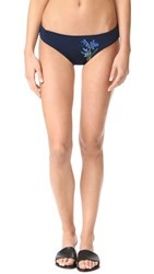 Stella Mccartney Embroidered Floral Classic Bikini Bottoms Sky Captain