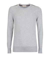 Burberry Brit Check Detail Cashmere Blend Sweater Male