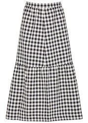 Mother Of Pearl Shelly Gingham Cotton Blend Skirt White And Blue