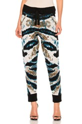 Baja East Cashmere Jacquard Pant In Abstract Black Blue Green White Abstract Black Blue Green White