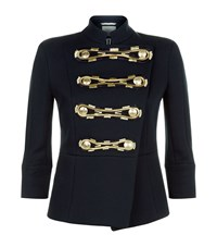 Balmain Pierre Embroidered Military Jacket Female Blue