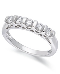 Macy's Certified Five Stone Diamond Band Ring In 14K White Gold 1 2 Ct. T.W.