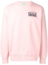 Aries Logo Patch Sweatshirt Pink