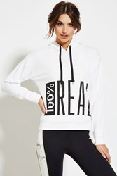 Forever 21 Active Real Graphic Hoodie White Black