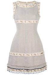 Chanel Vintage Embroidered Woven Dress Nude Neutrals