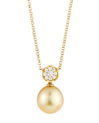 Belpearl 18K Diamond Flower And Golden South Sea Pearl Pendant Necklace