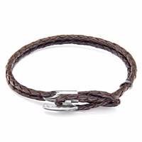 Anchor And Crew Dark Brown Padstow Silver Leather Bracelet