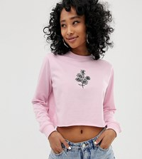 f190be0f9f91 Daisy Street Cut Off Sweatshirt With Embroidery Pink