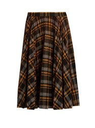 Maison Martin Margiela Pleated Tartan Wool Skirt Brown Multi